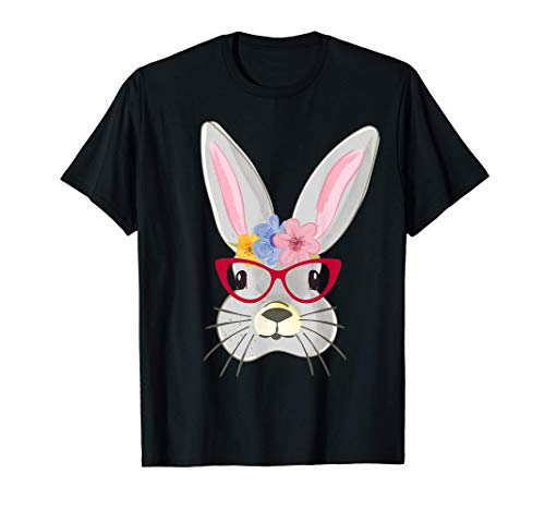 Lindo conejito de pascua con disfraz de maestro cara con Camiseta