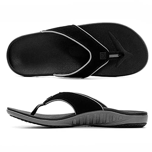 Plantar Fasciitis Orthotic Sandals Flip Flops for Men with Arch Support-Indoor and Outdoor Thong Sandals for Men with Non-Slip Rubber Sole and Quick Drying Straps