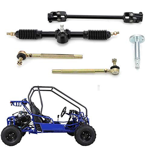 MotorFansClub 100CC 420mm Go Kart Steering Wheel Parts Assembly Tie Rod Rack Adjustable Shaft Kit Fit For Compatible With Go Kart 110CC