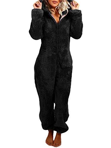 BKPAPTXY Mono de forro polar para mujer, de felpa gruesa, con mangas largas, traje de casa con capucha y cremallera, súper suave, cálido, Negro, S