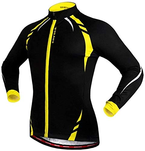 ZLYY De los Hombres del otoño del Resorte Jersey de Manga Larga Ciclismo, Bicicleta de montaña, Bicicleta de Carretera, Calientes, Ropa de la Bicicleta (Color : Yellow, Size : XL)