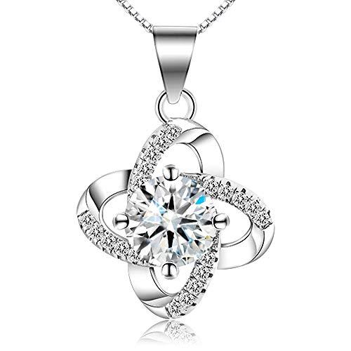 HVDHYY S925 Silber Mode Halskette Exquisite künstliche Diamant Zirkon Kristall Halskette Eleganter Schmuck Damen Mädchen Schmuck Accessoires Silber (Frühlingsblumen)