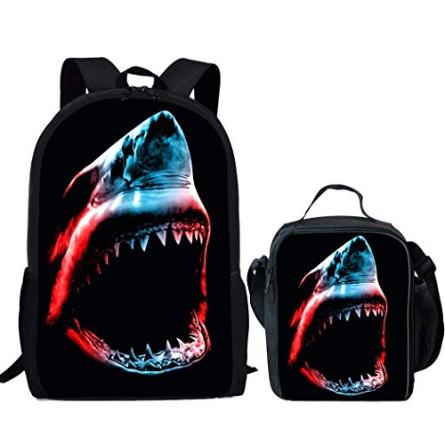 HUGS IDEA Children School Backpack Shark Print Boys Bookbag and Food Storage Lunch Box for Trave