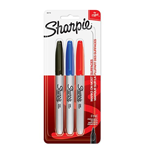 Sharpie 30173PP Permanent Markers, Fine Point, Assorted Colors, 1 Blister of 3 Markers, 3 Markers Total