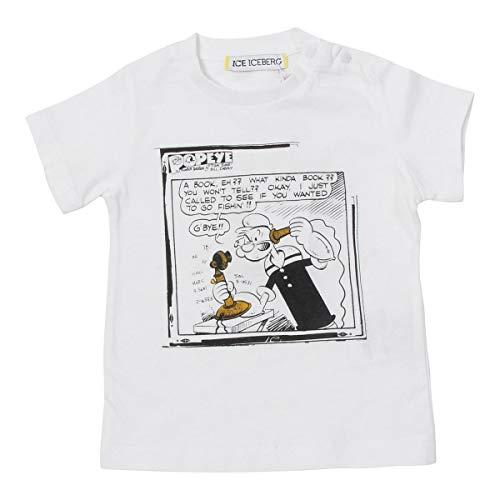 Iceberg T-Shirt Bimbo TSICE2124B Bianca Con braccio di Ferro in Cotone PE20 6A