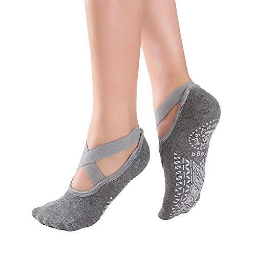 Delan - Calcetines de ballet para mujer, ideales para pilates Pure Barre Ballet Dance (1 par), gris