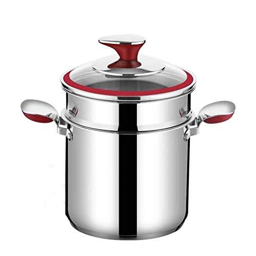 XJJZS Sopa Vapor Pot 304 Sopa de Acero Inoxidable Cocina de Inducción Olla Grande for guisos de Gran Capacidad de Espesamiento Pot Inicio pequeño Vapor (Size : 24CM)