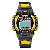 Reloj de pulsera digital para niños y niñas, mecanismo de cuarzo, resistente al agua, para deportes al aire libre, multifunción, con cronómetro y alarma, Amarillo -01., talla única, Correas.