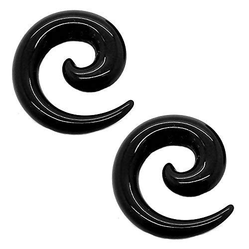 tumundo Set de 16 Piezas / 1 Par Espiral Extensor de Acrilico Dilatador Taper Expansor Stretcher Piercing 1,6-10mm Negro