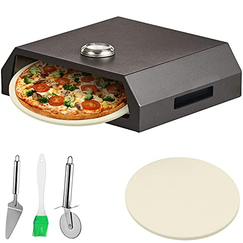 INWAVE Stainless Steel Top Portable Pizza Oven with Stone for Gas (Black)