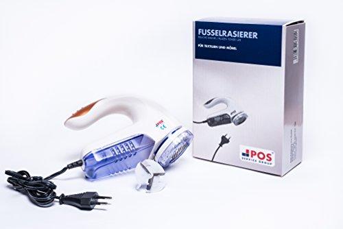 POS Polsterservice elektrischer Fussel Rasierer | ideal für Knötchen auf Möbeln & Textilien|inklusive Abstandshalter & Ersatzscherblatt