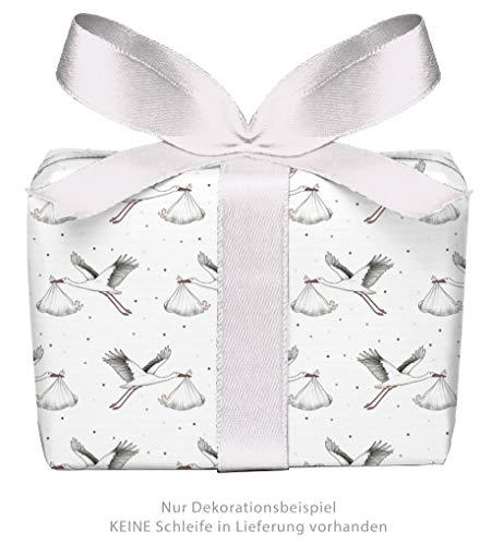 5er Set: 5 Bögen Geschenkpapier zur Geburt STORCH MIT BABY WEIß • Verpackung Geschenke zur Geburt Taufe Glückwunsch • Format: 50 x 70 cm