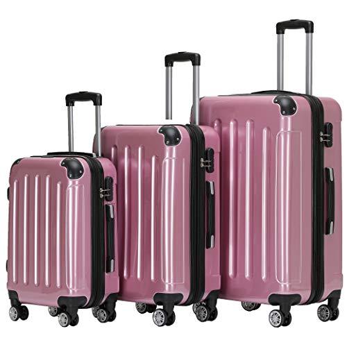 BEIBYE Zwillingsrollen 2048 Hartschale Trolley Koffer Reisekoffer in M-L-XL-Set in 15 Farben (Rosa, Set)