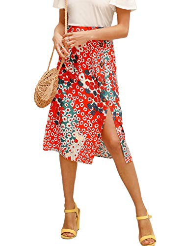 Floerns Women's Boho Floral High Waist Split A Line Midi Skirt Red S