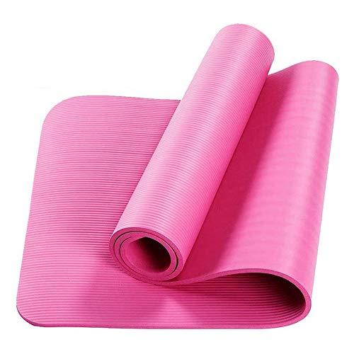 BAWAQAF Esterilla de yoga, 10 mm extra gruesa, antideslizante, para fitness, gimnasio sin sabor, almohadillas de ejercicio con correa de transporte