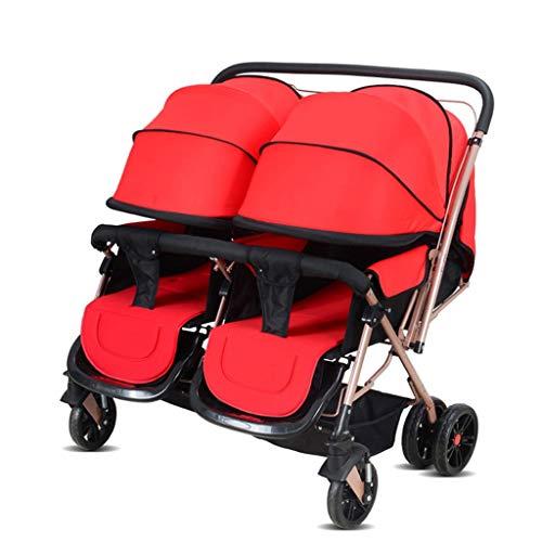 LICHUAN Sistema de viaje convertible con mango de empuje gemelos, cochecito de bebé doble, puede sentarse, mentira, ligera y doble, cochecito de bebé 2 en 1 para silla de paseo gemelos (color: C)