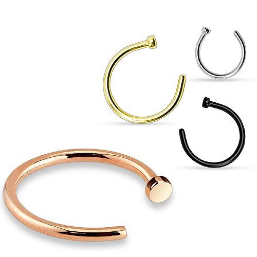 Trend Agent Premium Nasenring | Nasenpiercing | Nasenstecker | Fake Hoop Ring | 4er Set | Kann als Fake Piercing verwendet Werden | 8.0 mm x 0.8 mm | Gold, Silber, Roségold, Schwarz |