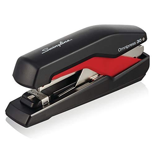 """Swingline Stapler, Omnipress 30 Stapler,""""Press Anywhere for Easier Use"""", 30 Sheet Capacity, Black/Red (5000586A)"""