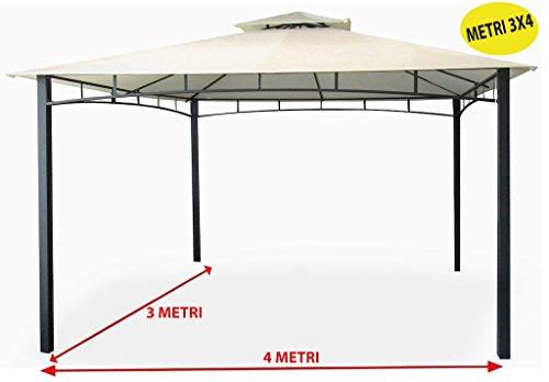 Savino Fiorenzo tuinpaviljoen 3 x 4 meter met waterdicht dekzeil, ecru van metaal en ijzer, zwart gesatineerd, roestvrij, dubbel dak, windbescherming, palen 6 x 6 cm