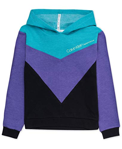 Calvin Klein Big Girls' Performance Hoodie, Open Purple, L12/14
