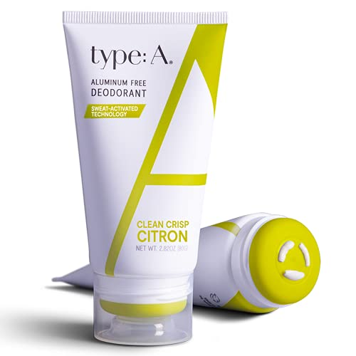 Type:A Natural Deodorant For Women | Crisp Citron - Aluminum Free Deodorant with Coconut and Aloe, Safe For Sensitive Skin | The Visionary - 2.8oz Dry Touch Cream Deodorant