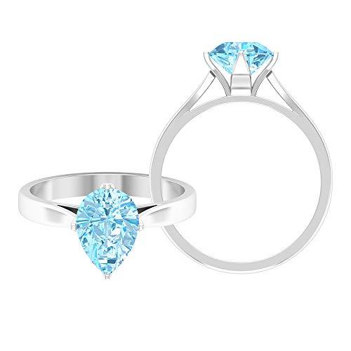 Anillo solitario corte pera 6x8 mm, anillo de fijación de catedral, anillos de promesa para ella 14K Oro blanco