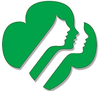 GREEN Girl Scouts Faces Logo Shaped Sticker Decal (emblem usa scouting) 4 x 4 inch