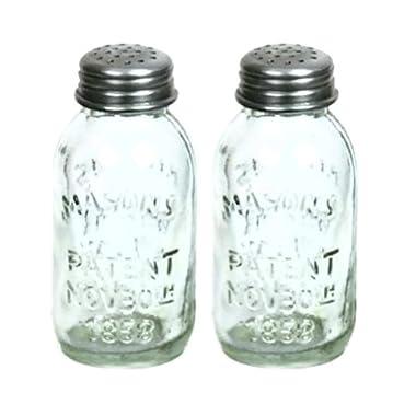 Set of 2 Glass Mason Jar Salt and Pepper Shakers