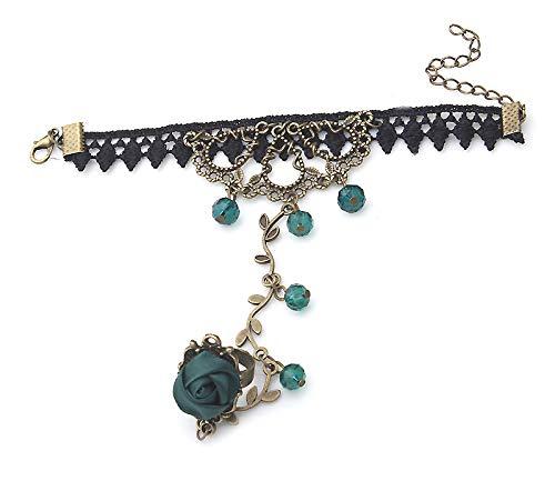 miaoyu Pulsera de dedo, 1 pulsera de mujer, estilo retro, gótico, con encaje, flor, cadena esclava, regalo de temperamento (color metálico: verde)