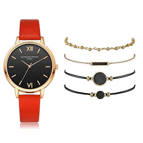 CMXUHUI Moda y generoso, una buena opción para su l 5 piezas Set Top Style Moda Mujeres Lujo Correa De Cuero De Lujo Reloj De Cuarzo Analógico Reloj De Señoras Reloj De Mujer Vestido Negro