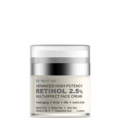 Trust MD - Retinol 2.5% Multi-Effect Face Cream - Face Cream with Vitamin A, E, B5 and Hyaluronic Acid - Improves Texture, Fine Lines and Skin Tone - Best Day and Night Facial Cream | 1.7 oz