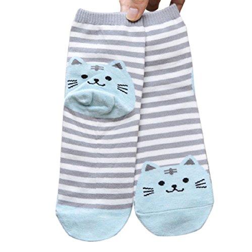 Nalmatoionme Chaussettes mignonnes à rayures avec empreintes de chat en coton