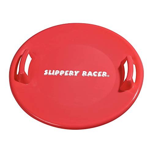 Slippery Racer Downhill Pro Adults and Kids Plastic Saucer Disc Snow Sled with Handles, Green