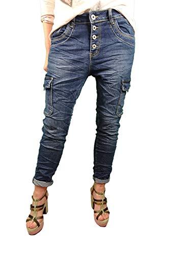 Karostar Denim Stretch Baggy-Cargo Jeans con tasche laterali denim scuro XXXL