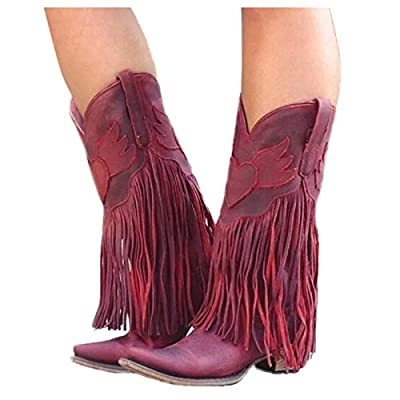 Amazon - Save 80%: Women's Western Ankle Cowboy Boots with Tassel, Women's Leather Square…