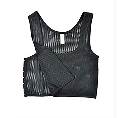 Lesbian Breathable Flat Chest Elastic Band Strapless Compression Binder Tank (Lable Size XL (US Size L): Suitable for B Cup, Black)