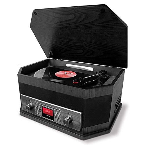 ION Audio Octave LP - Giradischi Impianto Stereo con Casse, Radio, Bluetooth, Registratore, CD, Cassette, Porta USB, AUX IN, Finitura in Nero