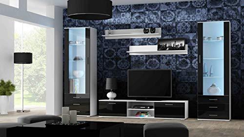 Wohnwand SOHO 4 mit Blauer LED Beleuchtung, Anbauwand, Wohnzimmerschrank, Schrankwand, Vitrine, Lowboard, Hängeregal (Weiß/Schwarz Hochglanz)