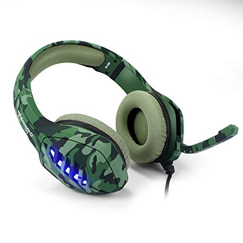 Cosmic Byte GS430 Gaming Headphone, 7 Color RGB LED and Microphone for PC, PS5, Xbox, Mobiles, Tablets, Laptops (Camo Green)