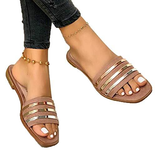 Sandały damskie | Płaskie buty damskie | Wygodne buty damskie | Damskie buty letnie | Obuwie damskie | Buty damskie z odkrytymi palcami (Color : Pink, Size : EU:38/UK:5/US: 7)
