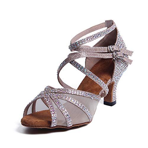Syrads Zapatos de Baile Latino con pedrería para Mujer Salsa Tango Moderna Bachata Zapatos de Baile de Salón Suela…