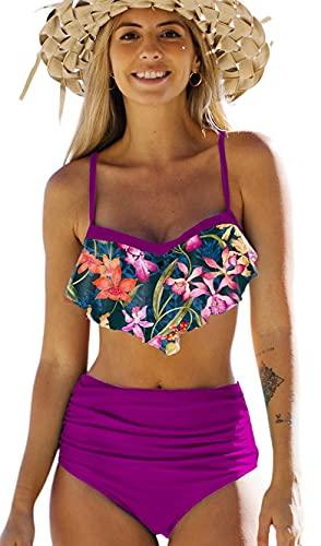 JFAN Costume da Bagno Donna Due Pezzi Bikini A Vita Alta Bottom Increspato Stampa Floreale Halter Ruffle Coordinati