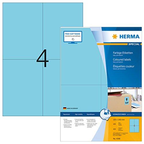HERMA Etichette per Marcatura, 105 x 148 mm, Etichette Adesive A4 per Stampante, 4 Etichette per Foglio, Blu