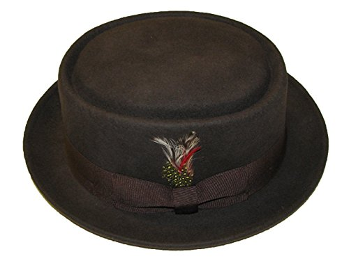 Chapeau de porc pliable unisexe marron avec bande assortie et plume amovible 100 % laine fabriqué à la main - Marron - X-Large