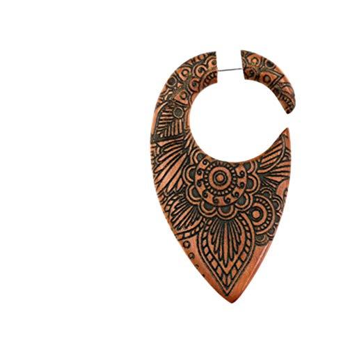 CHICNET Piercing falso de 1 mm de gota, círculo invertido, 50 mm, madera marrón, mandala, flor grabada, caracol dilatador, espiral tribal, joya unisex