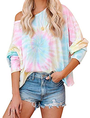 ZIYYOOHY Damen Pullover Sweatshirts V Ausschnitt Schulterfrei Bluse Oberteile Oversized Top (L, 935 Fluoreszierendes Blau)