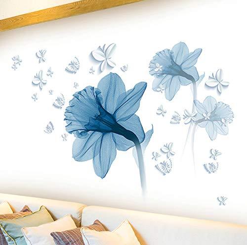 Pegatinas de pared de flores azules en la pared, salas de estar, dormitorio, sofá, TV, fondo, decoración de pared, planta, calcomanías de vinilo para pared, Mural