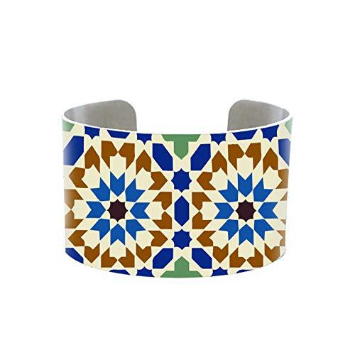 CLEARNICE Patrones De Azulejos De Mosaico, Puños De Aluminio Hechos A Mano, Regalos para Hombres, Mujeres, Azulejos De Mosaico Vintage, Brazaletes Ajustables Sin Costuras