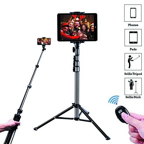 "Selfie Stick Tripod, SAVEYOUR 51"" Extendable Tripod Stand with Universal Phone/Pad Clip, Remote Shooting Compatible with iPhone & Android Devices, Phone Tripod for Video Shooting, Vlog, Selfie"