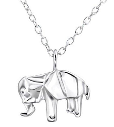FaithOwl - Collar con colgante de elefante de origami en plata de ley 925